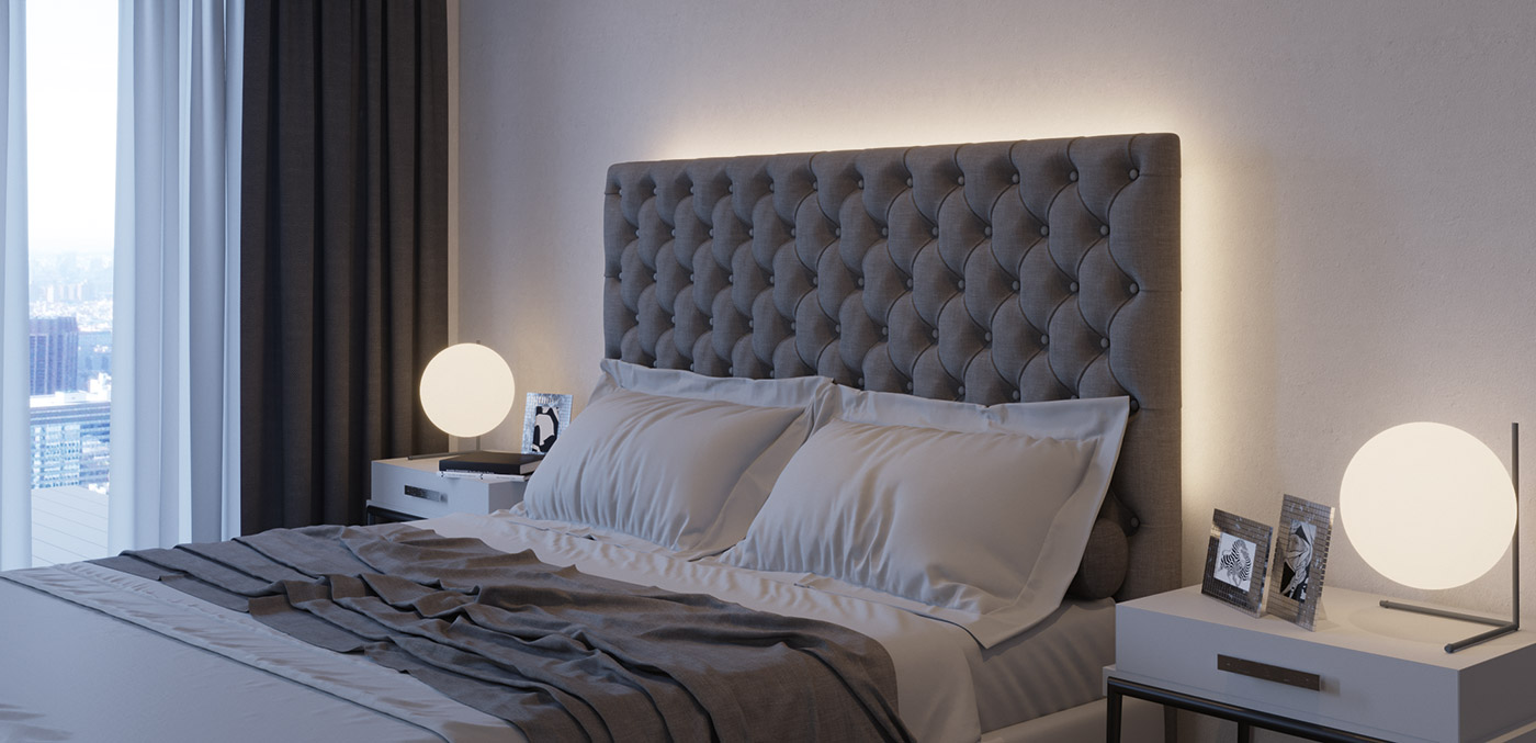 Loox 5 in hotel rooms. Indirect lighting of beds emphasize the feature.