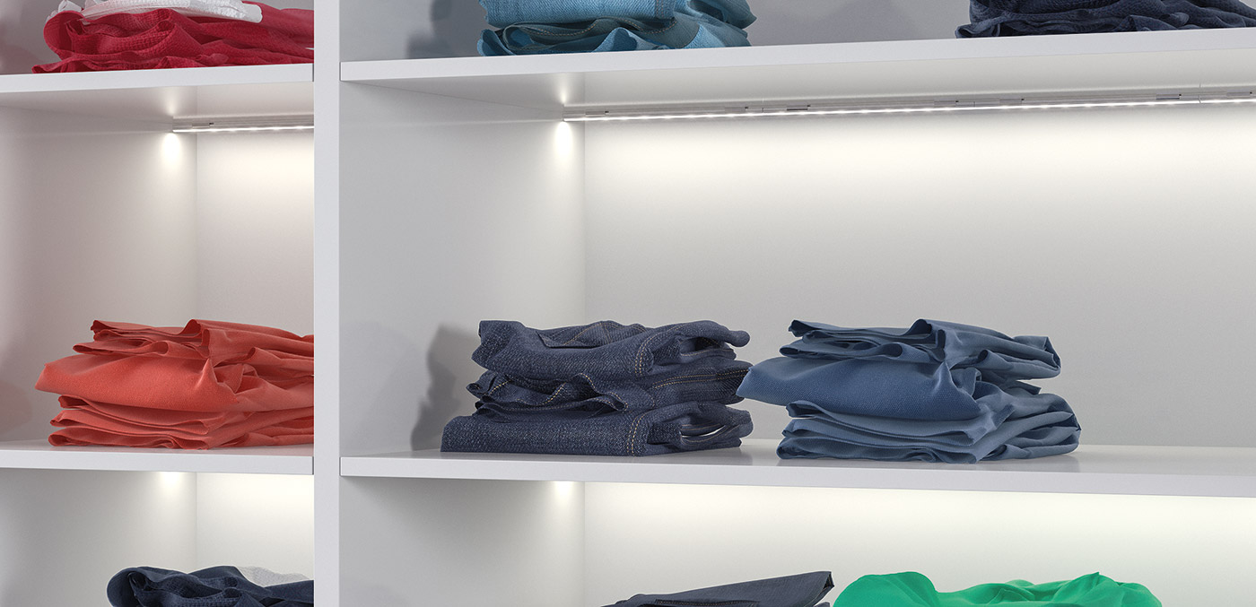Loox 5 in wardrobes. Recessed LED lighting in the compartments.