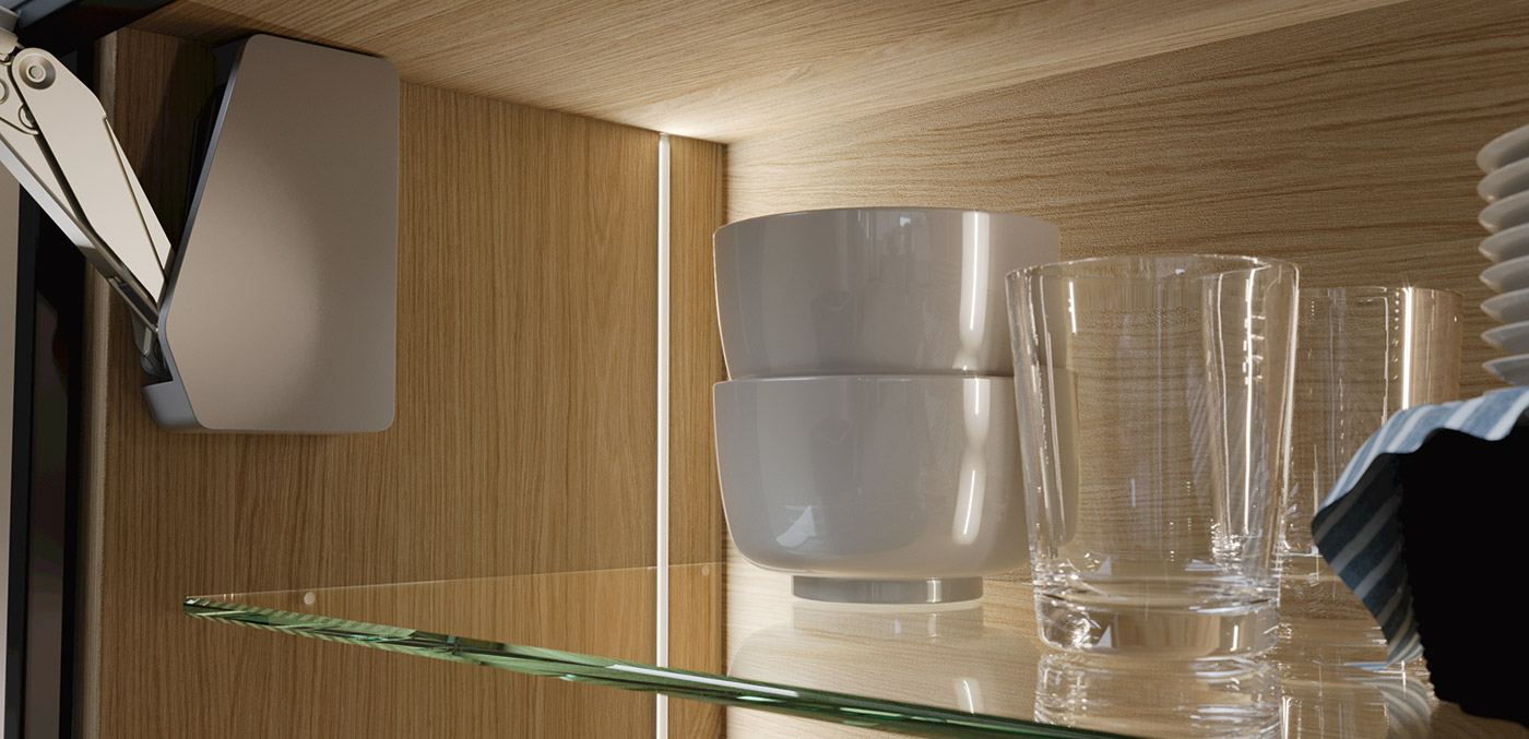 Loox 5 in wall cabinet. Discreet functional light inside the carcase.