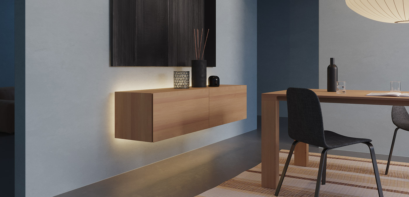 Loox 5 in Living rooms. All-round background lighting makes furniture float.
