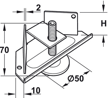 Base Leveler, Heavy-Duty, with Pound-In Prongs