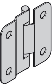 Connecting hinge, cranked, with fixed steel pin