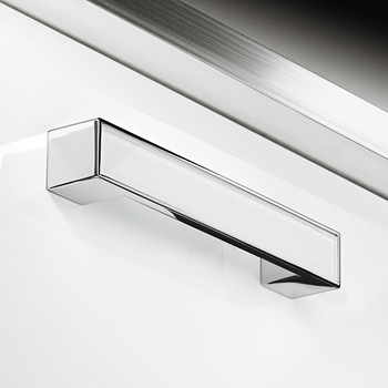 Furniture Handle, White & Polished Chrome, Glass & Zinc