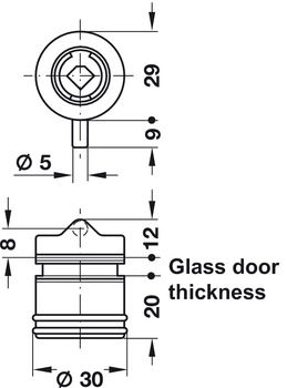 Glass Door Lock, for Hinged Doors, Symo 3000