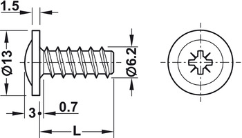Round Washer Head Screw, Flat head, PZ, fully threaded, for Ø 5 mm drill holes in wood