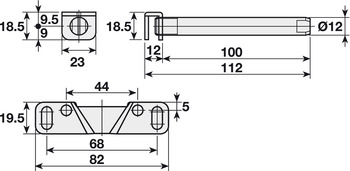 Shelf Support, with Inclination Adjustment